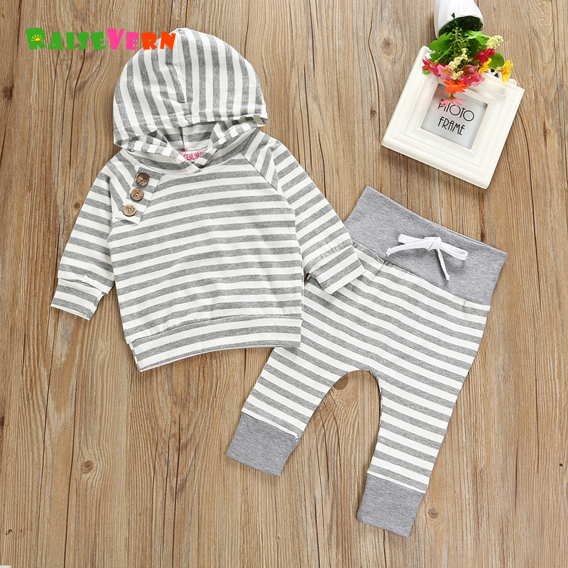 Clearance Sale Newborn Clothes Cotton Infant Gray Striped Striped Long Sleeve T Shirt + Trousers 2pcs Sets Infant Sweatshirt