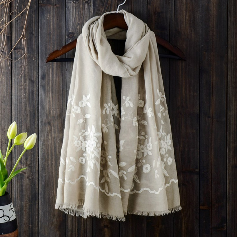 Women Scarf New Cotton Linen White Flower Embroidery Scarf Shawl Wraps 90X180CM 5colors