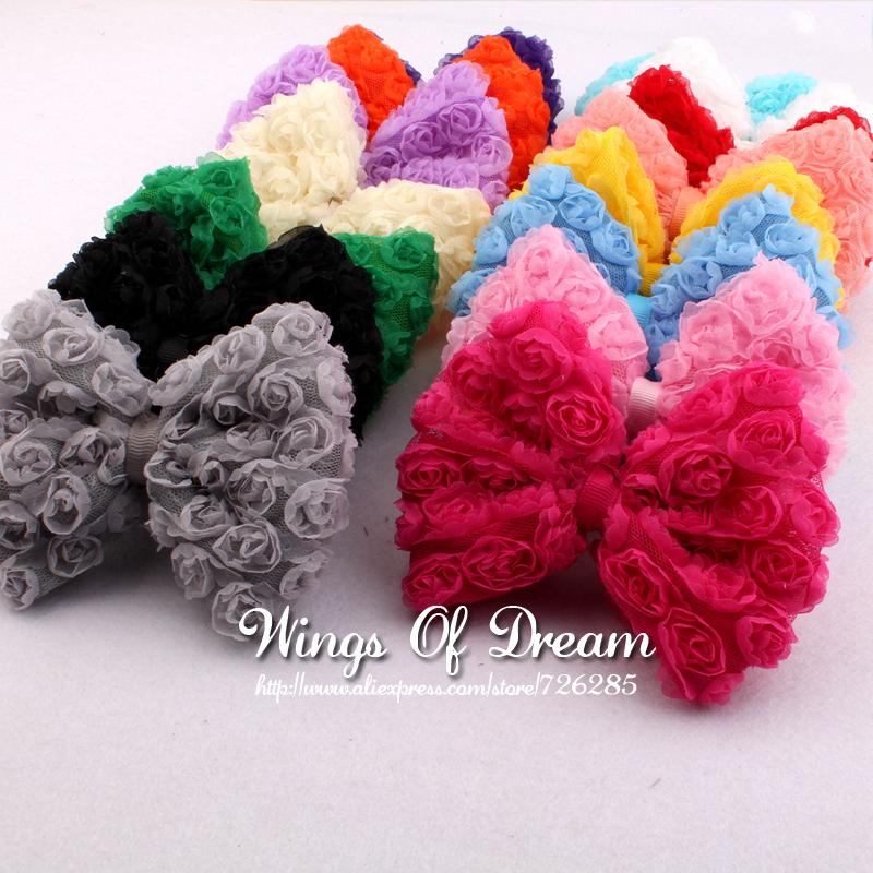 (50pcs/lot)15Colors Artificial Baby Girls/Women Winter Hair Accessories High Quality Handmade Fashion Big Soft Lace Hair Bows