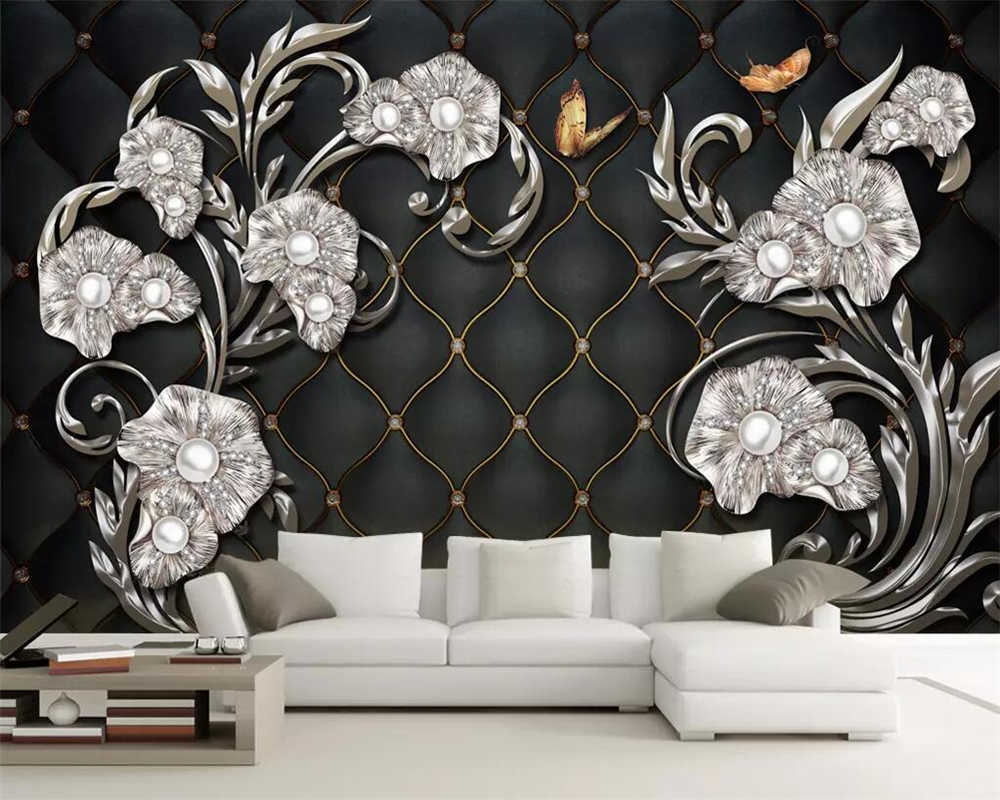 beibehang 3D wallpaper custom mural wallpaper high-end luxury 3D stereo jewelry flowers soft package TV background wall