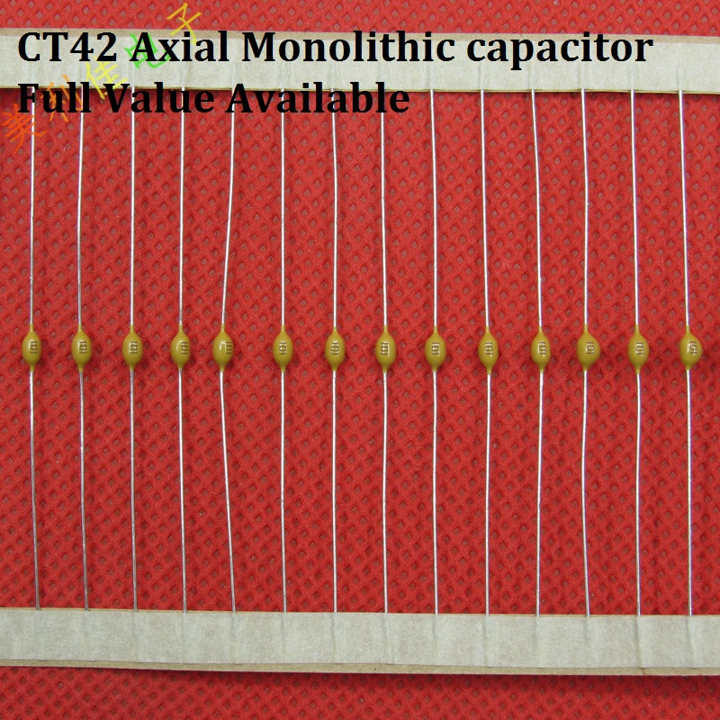 100PC Monolithic capacitor <font><b>50V</b></font> 474 223 224 105 104 103 102 1NF 10NF <font><b>100NF</b></font> 22NF 220NF 470NF CT42 Axial multilayer ceramic image