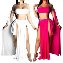 Womens Sexy 3Pcs Bikini Set Off Shoulder Bandeau High Cut Thong Cover Up Skirt Solid Color Lace Up Bandage Bathing Suit