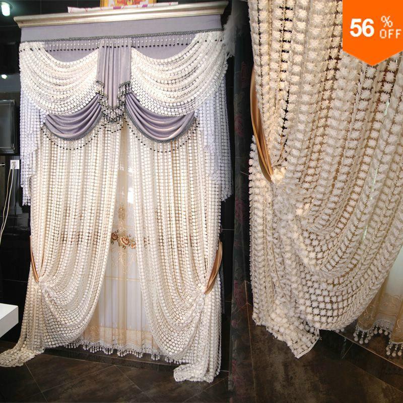 18 Luxury valance tulle curtain bedroom embroidered white curtain tulle beaded white curtains valance summer door bead curtains