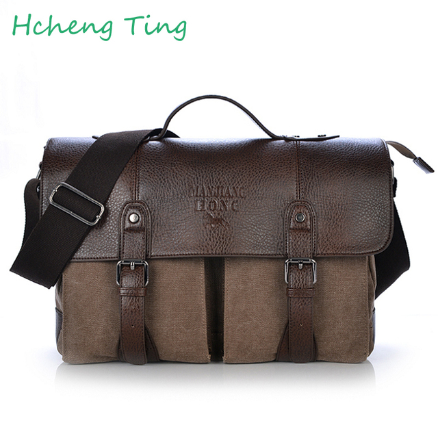 aaf9d9c14320 Men Canvas vintage Casual Briefcase Business Shoulder Bag Messenger Bags  Computer Laptop Handbag Bag Men's Travel Bags-in Briefcases from Luggage &  ...