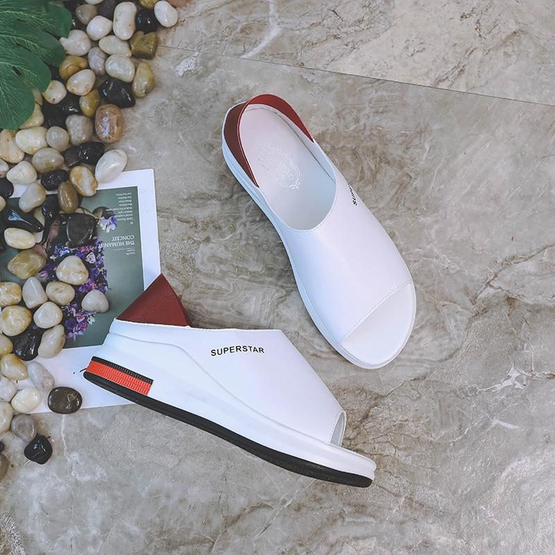 HTB1AGR0aLvsK1Rjy0Fiq6zwtXXaA 2019 New Fashion Women Sandals Summer Platform Sandal Shoes Woman Peep Toe Leather Beach Flat Casual Sandalias Mujer Plus Size