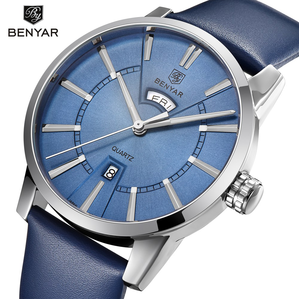 2017 New BENYAR Luxury Brand Men Leather Quartz Watch Reloj Hombre Business Waterproof Mens Watches Clock Male Relogio Masculino jedir reloj hombre army quartz watch men brand luxury black leather mens watches fashion casual sport male clock men wristwatch