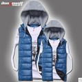 Free shipping 2016 spring autumn new Korean version Men casual wave Thickened Bright surface Hooded couple vest cheap wholesale