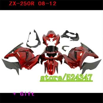 Inyección Barato kit de motor para Kawasaki Ninja 250R 2008, 2011 de 2012 08 09 10 12 ZX 250R llama negro en rojo carenado de la