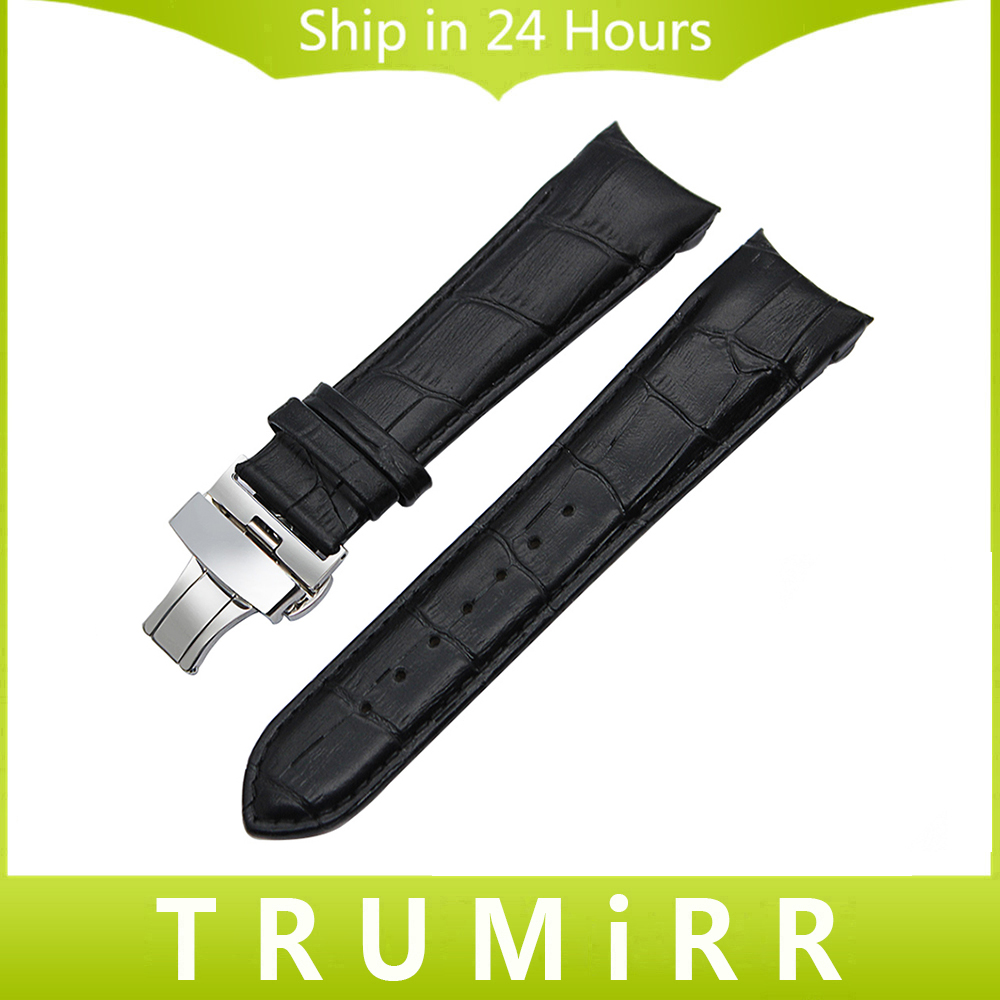 Curved Genuine Leather Watchband 22mm 23mm 24mm for Couturier T035 Watch Band Butterfly Clasp Strap Wrist Bracelet Black Brown curved end genuine leather watchband for tissot 1853 watch band butterfly clasp strap wrist bracelet black brown 22mm 23mm 24mm