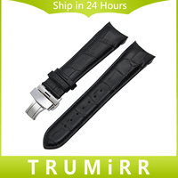 Curved End Genuine Leather Watch Band 22mm 23mm 24mm For Tissot T035 Watch Band Butterfly Clasp