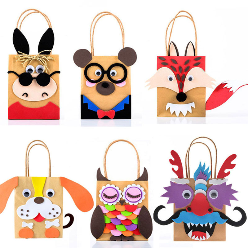 Children DIY Handmade Paper Bag Toys Kids Cartoon Animal Bag For Kindergarden School Educational Toys