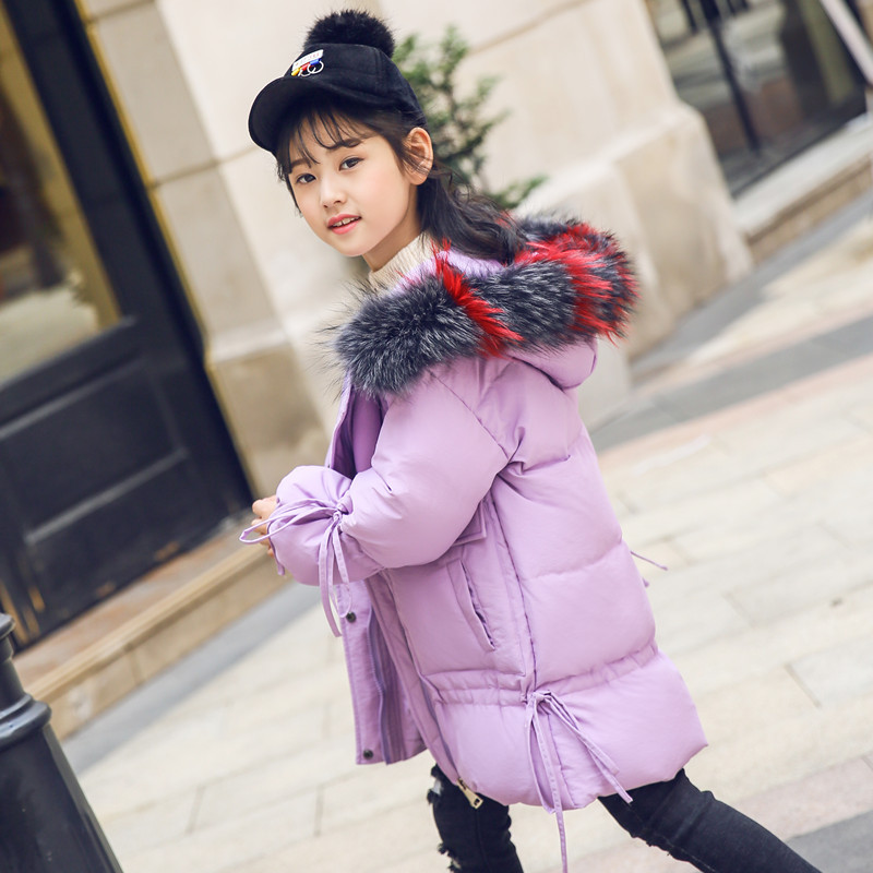 Girl Winter Coat Parka Long Down Puffer Hooded Fur Collar Children Winter Jacket Kids Thick Warm Clothes Teenage Girls Clothing girls winter coat 30 degree snow wear children parka coat hooded fur collar velvet clothes kids thick warm jackets for girls