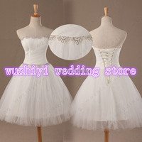 wuzhiyi Strapless Fashionable Tulle WEdding Dress Short Romantic New Arrival 2018 Sexy Beaded Belt Bride Dress Lace UP wedding