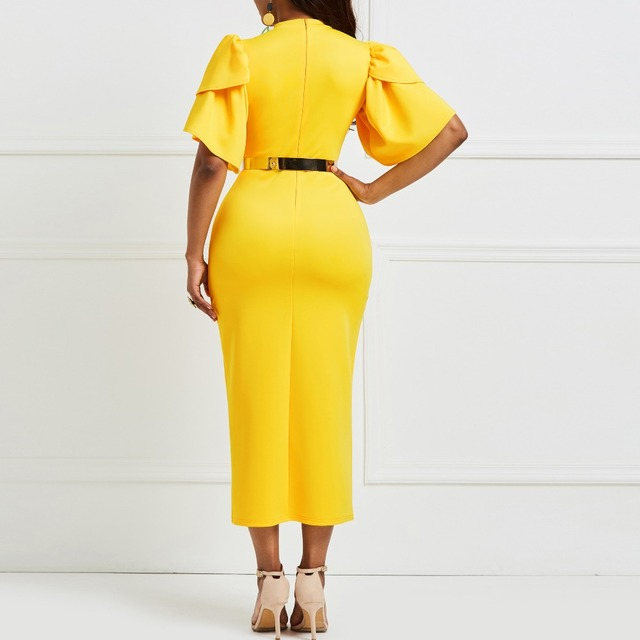 Kinikiss 2018 women office dress ladies yellow dress working girl ruffle zipper plus size evening summer bodycon midi dress  4