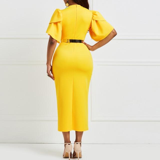 2019 women office dress ladies yellow dress working girl ruffle zipper plus size evening summer bodycon midi dresses sheath slim