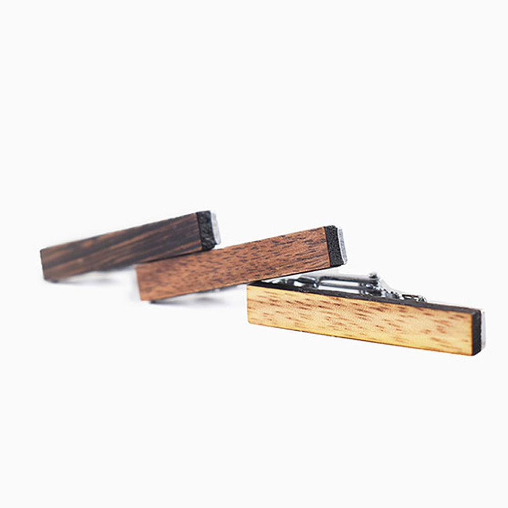 High-grade wooden tie clip fashion personality pattern printing wooden tie clip