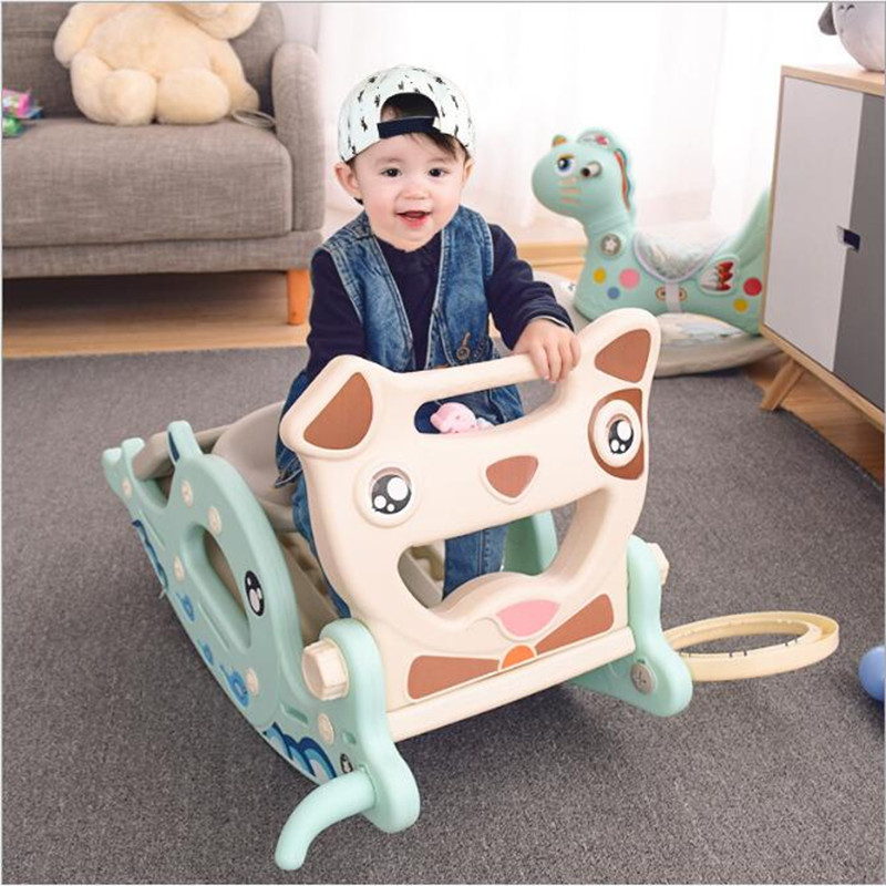 New Baby <font><b>Bouncer</b></font> Rocking Horse Slide Dual-use 3 in 1 Children's Toy Baby Slide Ferrule Multi-function Toys for Children Outdoor