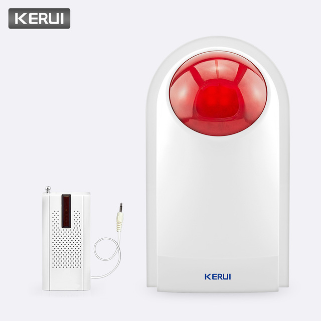 KERUI 433MHz 110dB Wireless Flashing Siren Sensor Alarm with F8 Transmitter Working for Home Security Alarm System