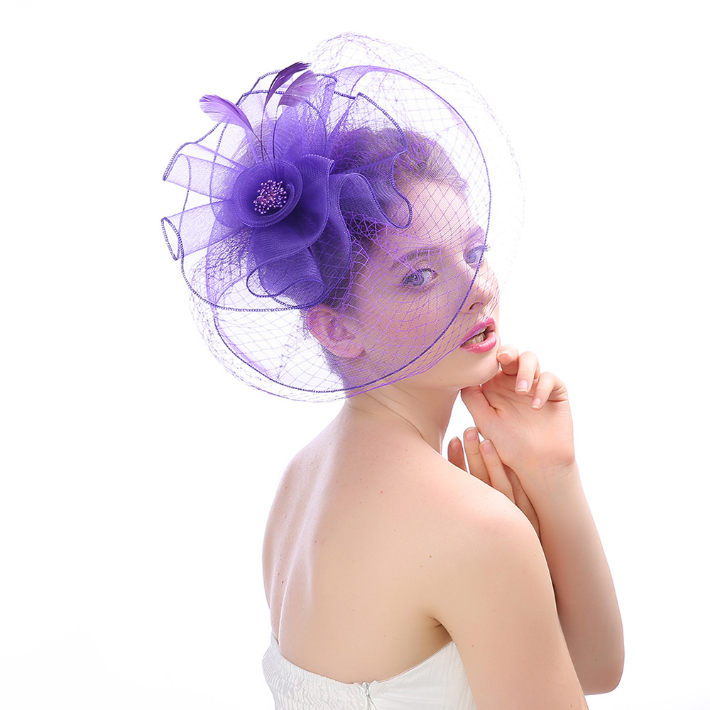 New Bride Wedding Hat Women Fascinator Flower Headband Hair Comb Bridal Headwear Headpiece Wedding Accessories Decoration