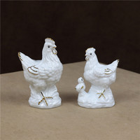 Porcelain Rooster Statue Hen Figurine Ceramic Chicken Family Miniature Craft Ornament Home Decoration Accessories Birthday Gift