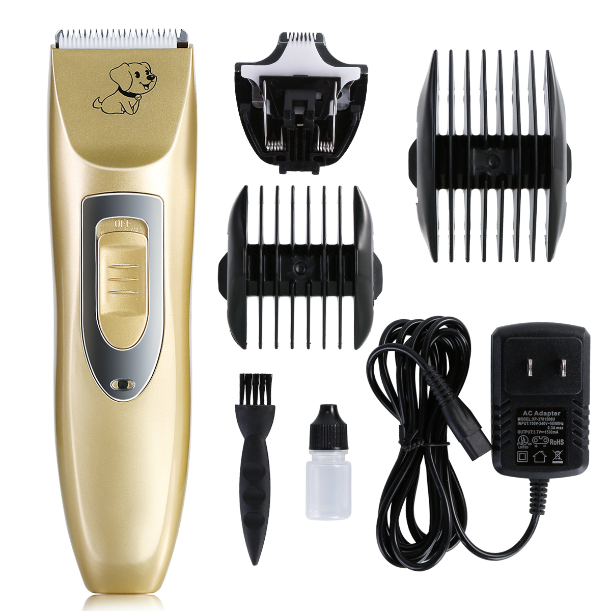 Pet Hair Clipper Low Noise Cordless Rechargeable Electric Dog Cat Groom Trimming Kit Electric Push Trimmer Size Cutter Head set