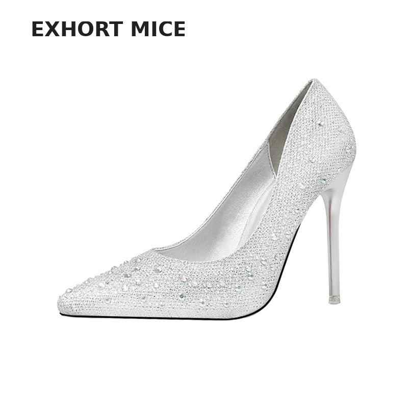 Exhort Mice Women Pumps Extreme High Heels Glitter Party Shoes Sexy White  Bridal Wedding Shoes Spring 263b615f1f70