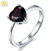 Hutang 1 95Ct Mystery Black Garnet Solid 925 Sterling Silver Heart Ring Natural Gemstone Womens Fine