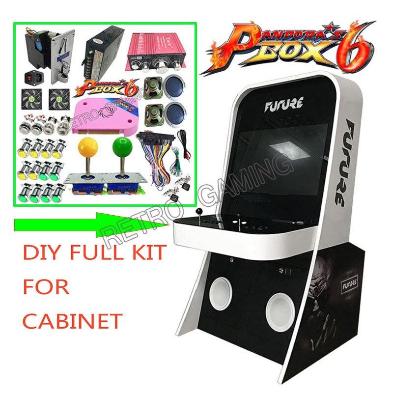 Boîte Pandora 6 PCB 1300 en 1 Jamma avec bloc d'alimentation pièce mech joystick LED bouton kit complet pour bricolage Machine de jeu d'arcade