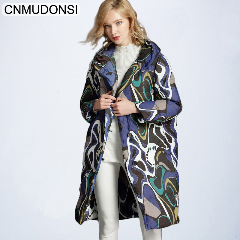 CNMUDONSI Printed Thicken Winter   Down   Jacket Women Ukraine Fashion Hooded Female Casual Parka Long   Coat   Fashion Outerwear Womens