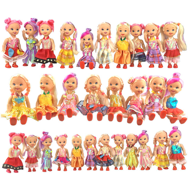 4psc/set random Mixed Sorts small doll with dress and shoes for mini kally plastic dolls set girl toys for children brinquedo