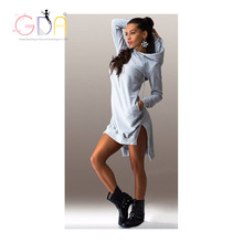 GDA. 2016 hot sale Loose Casual Hoodies S,M,L,XL,XXL Plus Size Long sleeve dresses Novelty Nature dress Free shipping Y