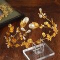 2016 Новая Мода Великолепный Золотой Жемчуг Корона для Невесты Элегантный Хрустальный Цветок Корона Люкс Свадебные украшения Для Волос Аксессуары