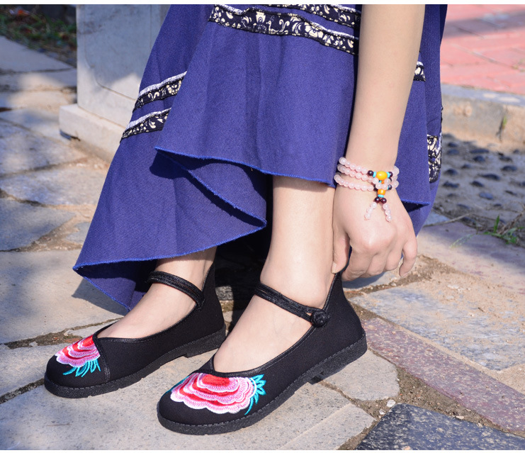 Fashion 2017 Old Peking Cloth Shoes, Chinese Style Totem Flats Mary Janes Embroidery Casual Shoes, Red+Black Women Shoes S189 (44)