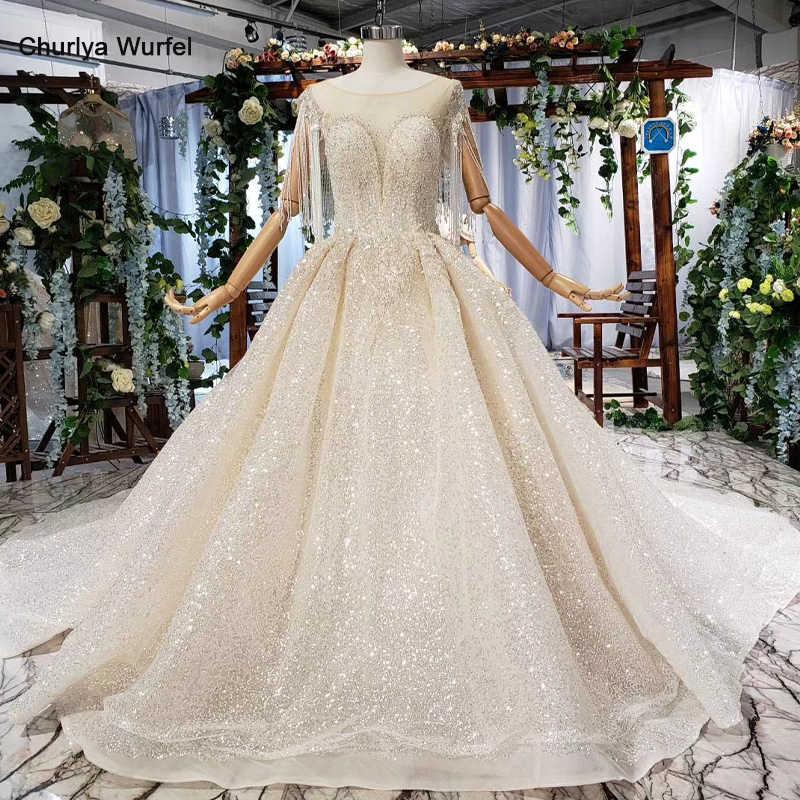 HTL607 אור שמפניה שמלת כלה מיוחדת עם o-צוואר ציצית אשליה נצנצים תחרה עד כלה חתונה שמלת vesrido דה noiva