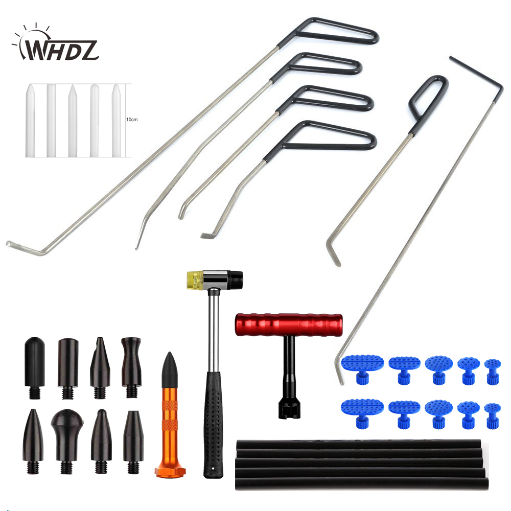 WHDZ PDR Push Rods PDR sticks Auto Body Tools Dent removel T-bar slide hammer Puller tabs Paintless Dent Repair Kits paintless dent repair pdr tools aluminum tap down hammer pdr slide hammer pdr glue tabs wedge t bar puller car dent fix auto