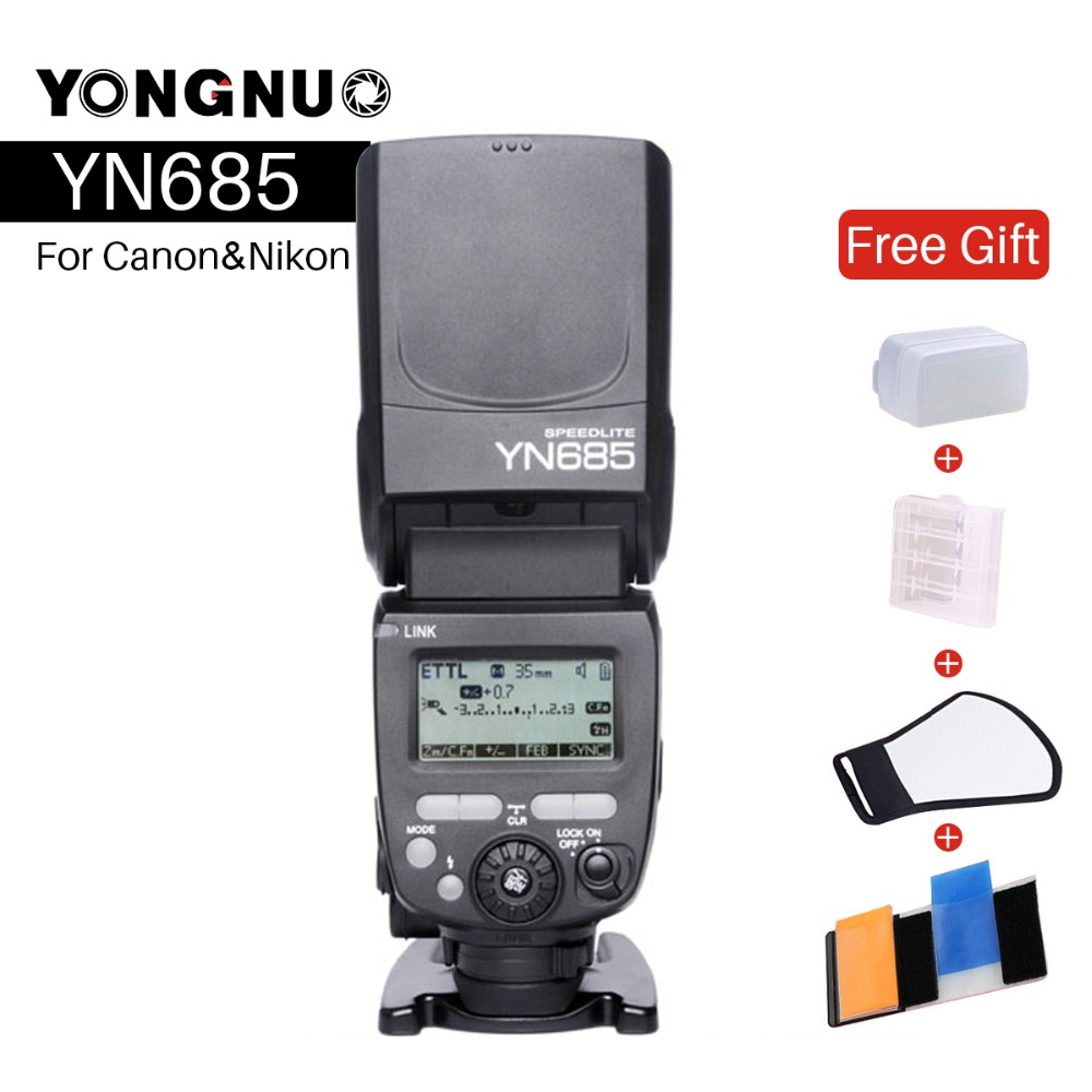 купить YONGNUO YN685 Wireless 2.4G HSS TTL Flash Speedlite for Canon Nikon YN685C YN685N Support YN560-TX RF603 II YN622C YN622N-TX по цене 6935.75 рублей