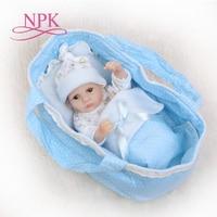 NPK 25cm Full Silicone Reborn Baby Dolls Alive Lifelike Real Dolls Mini Realistic Bebes Reborn Babies Girl Toys Birthday Gift