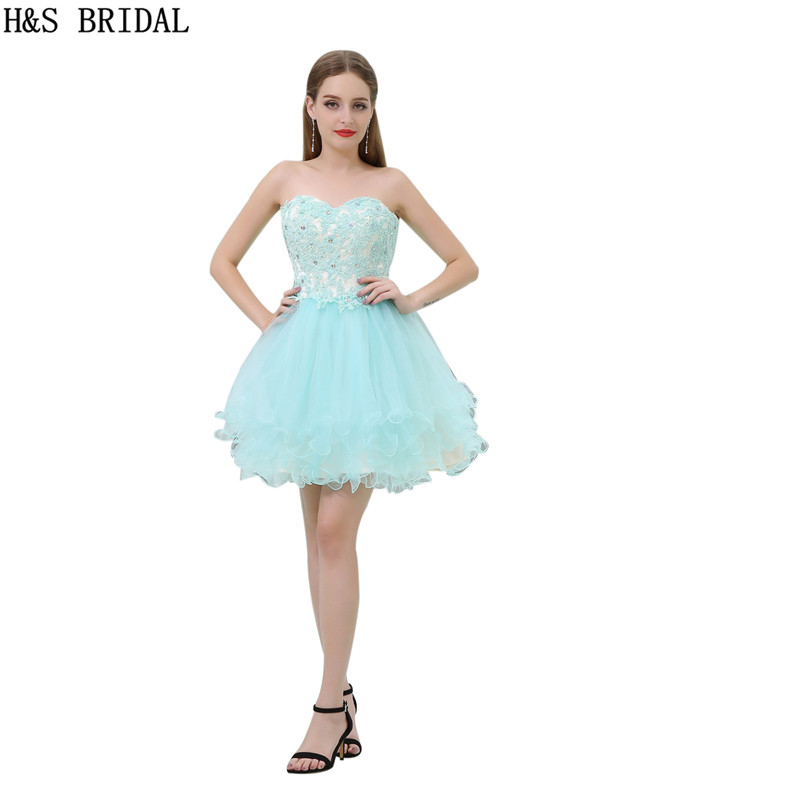 H&S Sweetheartcocktail   dresses   Lace Applique   cocktail     dress   Light Blue Tulle robe   cocktail   2017 Sexy backless   Cocktail   Party