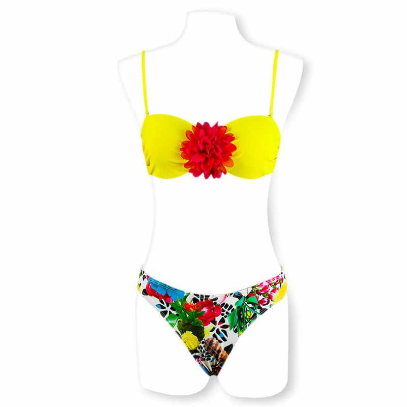 Комплект бикини купальник для Для женщин пикантные красные кружевная желтая бикини Цвет печати Красивая Молодежная пляж солнце