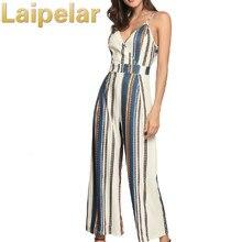 Laipelar Vintage floral print boho jumpsuit romper V neck sling stripe casual jumpsuit Loose sash summer jumpsuit women overalls