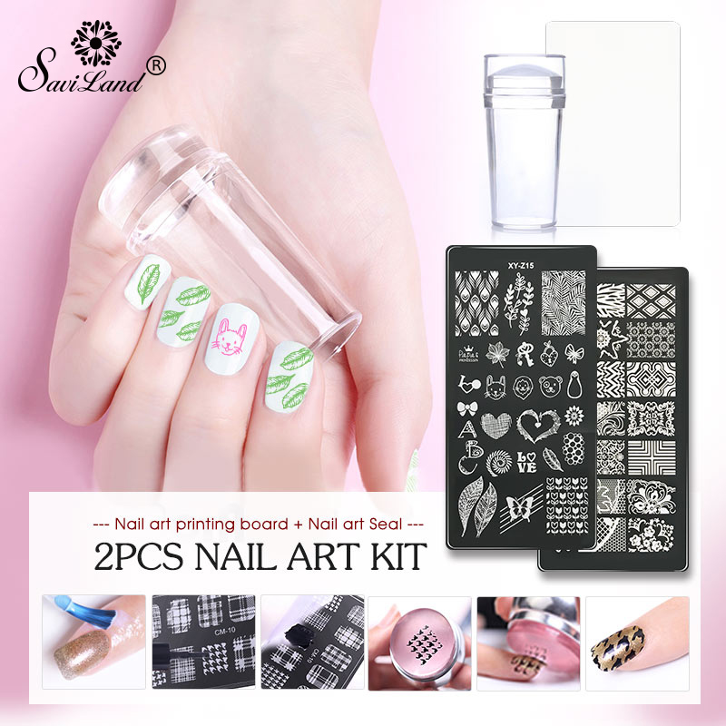 Saviland 3D DIY Nail Designs Manicure Stamp Plate With Clear Jelly Stamper Scrapper Silicone Set Polishes Starter Full Kit