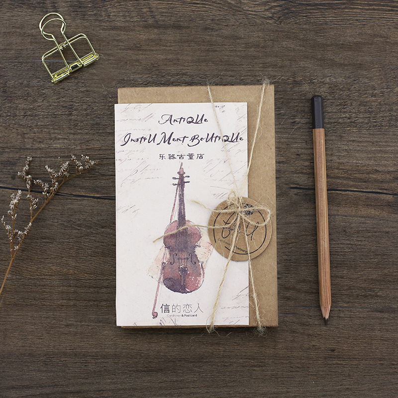 30 Pcs/Set Creative Violin Musical Instruments Postcard