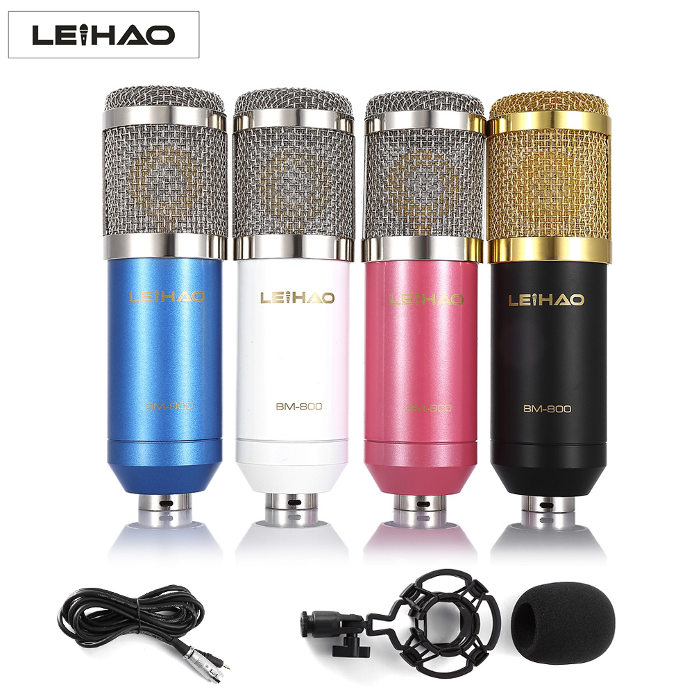 LEIHAO BM - 800 BM800 Dynamic Condenser Wired Microphone Mic Sound Studio for Singing Recording Kit KTV Karaoke with Shock Mount bm800 condenser microphone kit studio suspension boom scissor arm sound card 3 5mm wired vocal recording ktv karaoke microphone