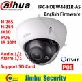 Оригинал Dahua IPC-HDBW4431R-AS ИК HD 1080 P H.265 Ip-камера 4MP ИК безопасности cctv Купольная Камера Поддержка POE сети IK10 IP67