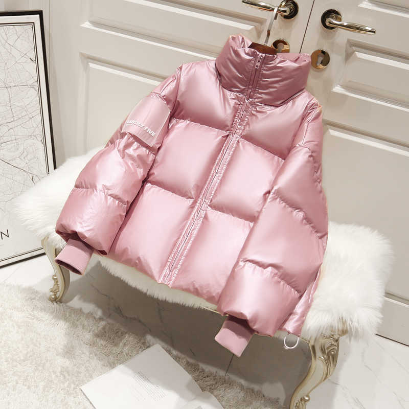 2020 女性の光沢のあるダウンパーカー冬のジャケットの女性大サイズ厚いダウンジャケット緩いホワイトダックダウンコート防水上着