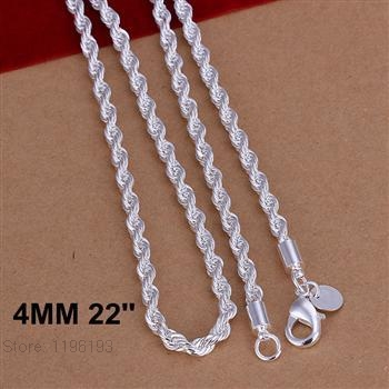 4MM 22'' 55cm Men's Necklaces Silver 925 Jewelry twisted Rope Chain Necklace High Quality Jewelry for Women Men