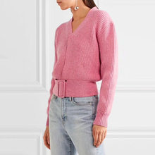 1c9e3a4342 2018 Autumn Winter Runway Designer Pink Crop Sweater and Pullovers Women  Long Sleeve V Neck Lace Up Knitted Jumper Tunic Clothes