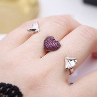 Pembe kristal şeker aşk yüzükler mücevherat anillos mujer, moda anel feminino çift halka kadın cristal best friends hediyeler joyas