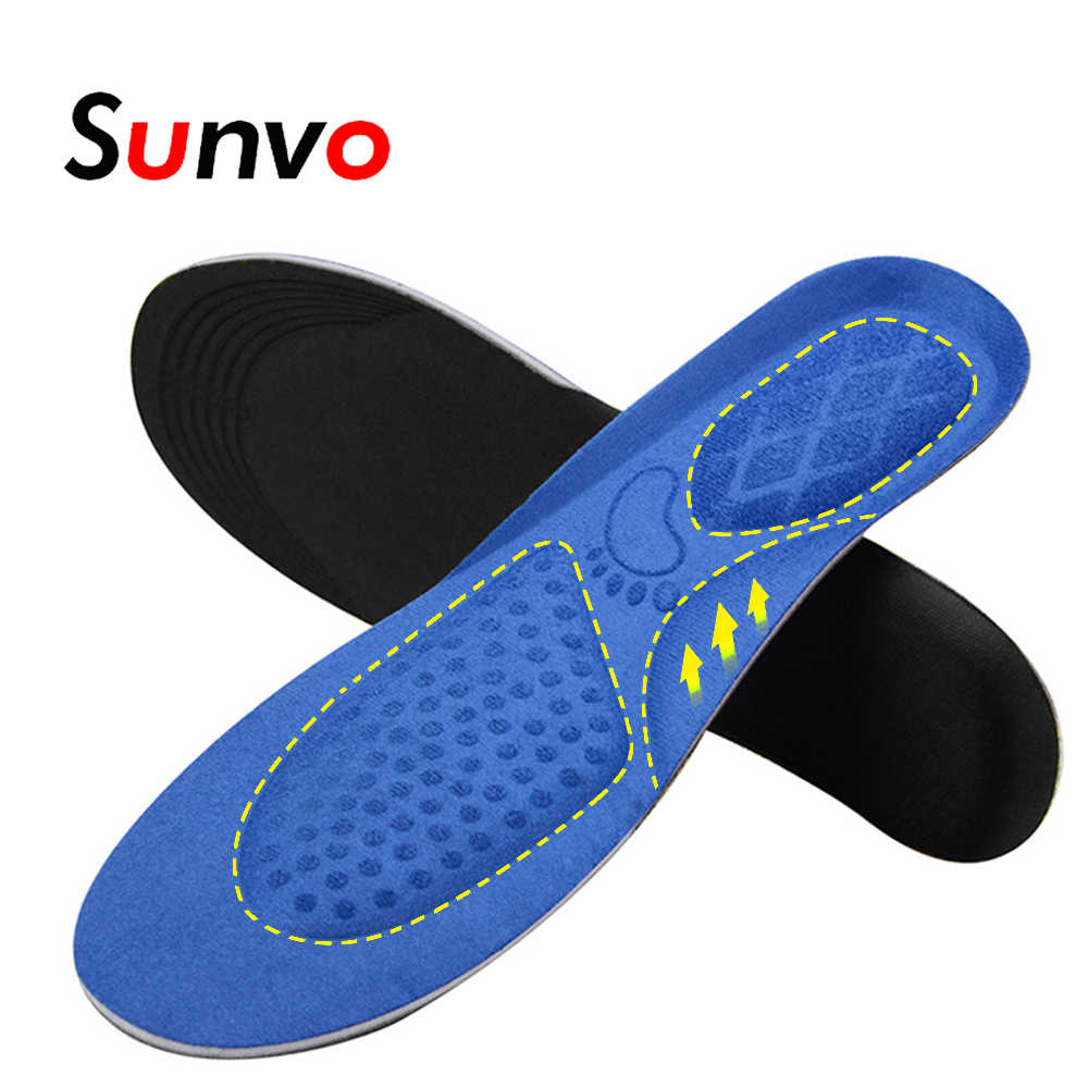 Sunvo Arch Support Sport Insoles for Flat Foot Running Shock Absorption Heel Cushion Massage Shoe Pad Pain Relieve Insole Blue