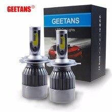 Geetans H4 H7 H13 H11 H1 9005 9006 COB светодиодные фары 72 Вт водить автомобиль Фары лампы фара 9004 свет чистый белый 6000-6500 К EC